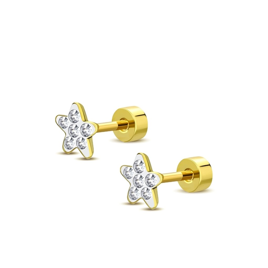 NRG Bijoux 205-AST167 Boucles doreilles dormeuses à vis en acier inoxydable plaqué or avec clous CZ clair paire