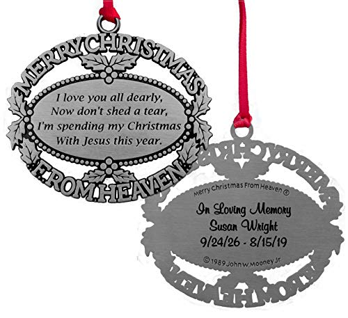 Custom Engraved Merry Christmas From Heaven Ornament, Poem Card, Gift Box (Missing A Loved One In Heaven Poems)