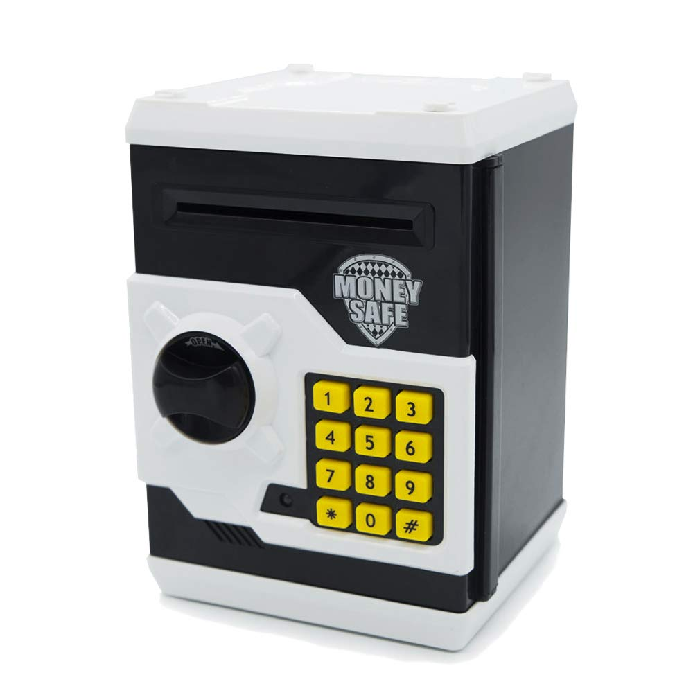 APUPPY Electronic Money Bank, Cartoon Password Piggy Bank Cash Coin Can, Toy Gifts Birthday Gifts for Kids (Black & White)