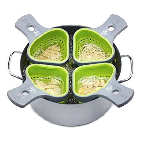 XENO-Hot Kitchen Silicone Pasta Noodles Strainer Portion Control Basket Colander Tool