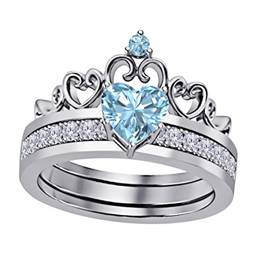 14k White Gold Plated Alloy Heart Shape 6MM Created Aquamarine & Cubic Zirconia Round Interchangeable Crown Engagement & Wedding Ring Set Women's Jewelry Size 4-11
