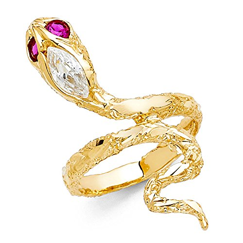 Ioka - 14K Solid Yellow Gold Red Eyed CZ Snake Fancy Ring - Size 7.5 ()