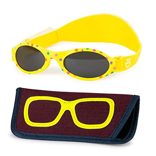 Baby Sunglasses 0-6, 6-12 month - Age 3 Years   Infant, Toddler Girl & Boy Sun Glasses with Adjustable Strap, Baby Beach Gear   UV 400 Protection   Soft Rubber Frame Sunshades with Case (Yellow)