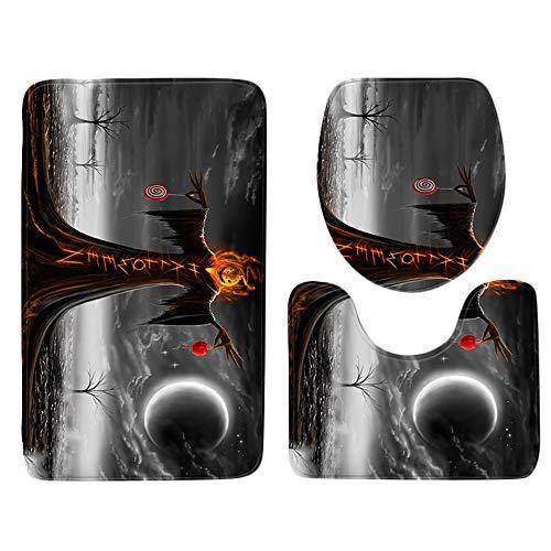MOKO-PP Halloween Pumpkin lantern Toilet Seat Cover and Rug Bathroom Set Halloween Decor(D)