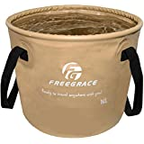 Premium Collapsible Bucket By Freegrace - Compact Portable Folding Water Container - Lightweight & Durable - Includes Handy Tool Mesh Pocket