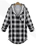 QZUnique Women's Plus Sizing Casual Grid Style Hooded Sweatshirt Light Grey US 20W