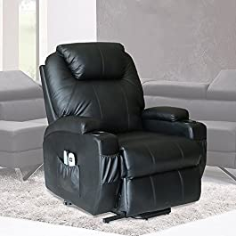 U-MAX Massage Chair Power Lift Recliner Wall Hugger PU Leather Heated Vibration with Wheels 2 Controls