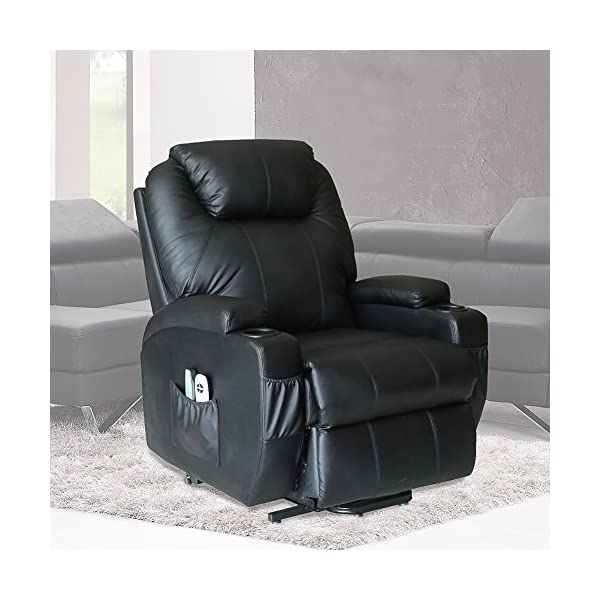 U MAX Massage Recliner Power Lift Chair for Elderly Heated Faux Leather with Remote Control Lounge Side Pockets Sofa