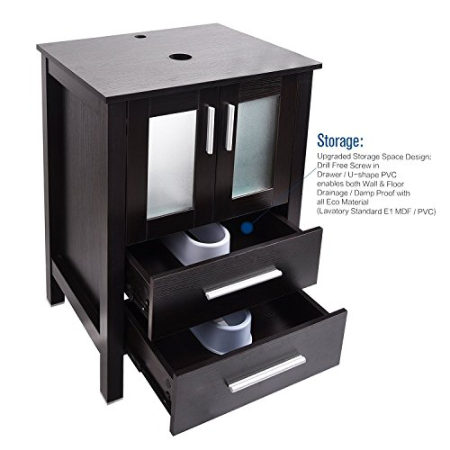 Bathroom Vanity and Mirror ELECWISH Bathroom Vanity 24 Inch MDF Stand Cabinet and Wooden Framed Mirror