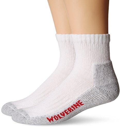 Wolverine Mens 2 Pack Steel Toe Cotton Quarter Sock