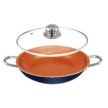 Sartén de cobre de 14 pulgadas con tapa, cazuela de wok con tapa Base de inducción ...