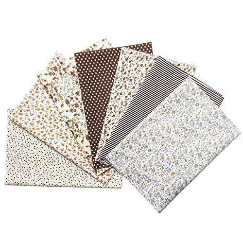 Quilting Fabric, Misscrafts 7pcs 50 x 50cm Cotton Blending Textile Craft Fabric Bundle Fat Quarter Patchwork Pre-Cut Quilt Squares for DIY Sewing Scrapbooking Dot Floral Pattern (Coffee)