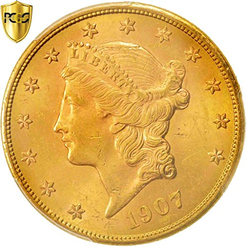 1907 S Liberty Head $20, Double Eagle PCGS MS63