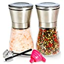 Premium Salt and Pepper Shakers 6 Oz -Just Add Summer- Salt and Pepper Grinder/Mill Set - 3 Grade Adjustable Ceramic Rotor - BUNDLE WITH - Peeler, Funnel, eBook and Cleaning Brush by Mys Homeware