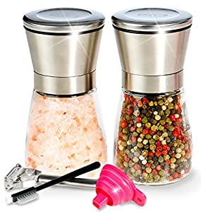 Premium Salt and Pepper Shakers 6 Oz - Unlike Other Salt and Pepper Grinder/Mill Set - 3 Grade Adjustable Ceramic Rotor - BUNDLE WITH - Peeler, Funnel, Recipe eBook and Cleaning Brush by Mys Homeware