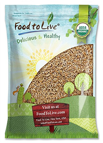 Organic KAMUT Khorasan Wheat Berries — 100% Whole Grain, Non-GMO, Kosher, Sproutable for Wheatgrass, Bulk (by Food to Live) (5 Pounds) (Wheatberries Whole)