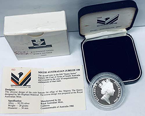 1986 AU South Australian Commemorative Silver Jubilee 150 KM# 88 $10 Proof