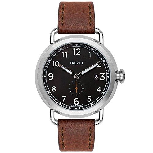 Tsovet SVT-CV43 CV111012-45 Black / Brown Leather Analog Quartz Men's Watch