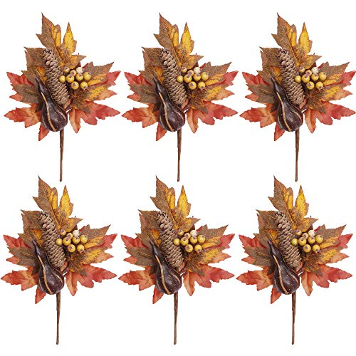 Valery Madelyn Fall Decorations, 6 Packs Fall Picks with Pumpkins Maple Leaves, Berries and Pine Cones, Artificial Floral Picks for Thanksgiving Decorations, Autumn Decor ()