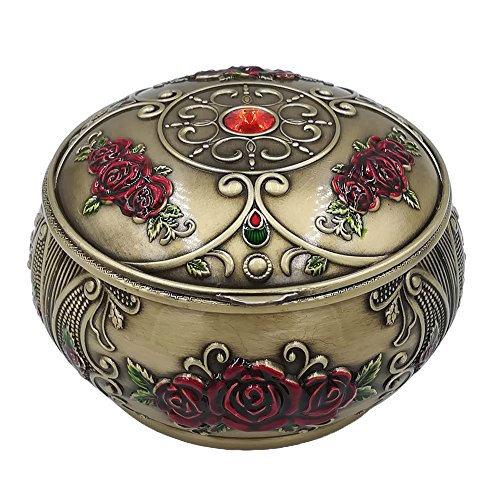 (Honoro Vintage Ashtray with Lid,Metal Windproof Cigarettes Ashtray with Gift Box for Home Office Tabletop Decoration,Red Rose Bronze)