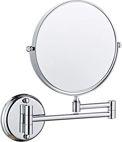 Long Leaf Wall Mount Makeup Mirror, 7X Magnifying Two Side Vanity Extendable Bathroom Mirror, Chrome Finish