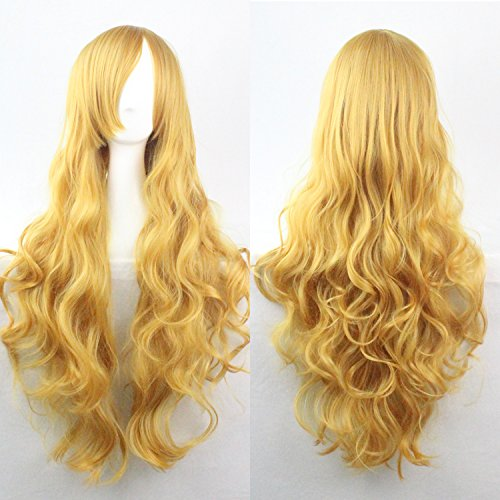 Womens/Ladies 80cm Yellow Color Long CURLY Cosplay/Costume/Anime/Party/Bangs Full Sexy Wig (80cm,Curly Yellow)