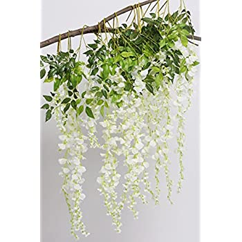 Amazon artificial flowers 34in artificial fake wisteria vine artificial flowers 34in artificial fake wisteria vine silk flowers for garden floral decoration living room hanging mightylinksfo