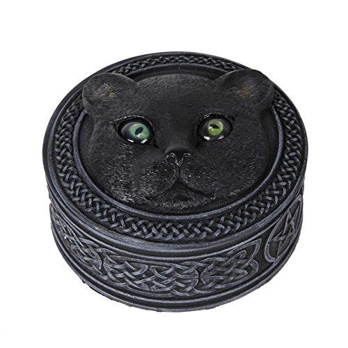 Cats Eye Jewelry (Mythical Black Cat Rolling Eyes Resin Trinket Box Collectible)