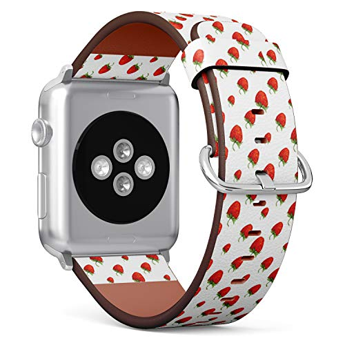 [ Compatible Big Apple Watch 42mm / 44 mm ] Replacement Leather Band Bracelet Strap Wristband Accessory // Watercolor Red Strawberries ()