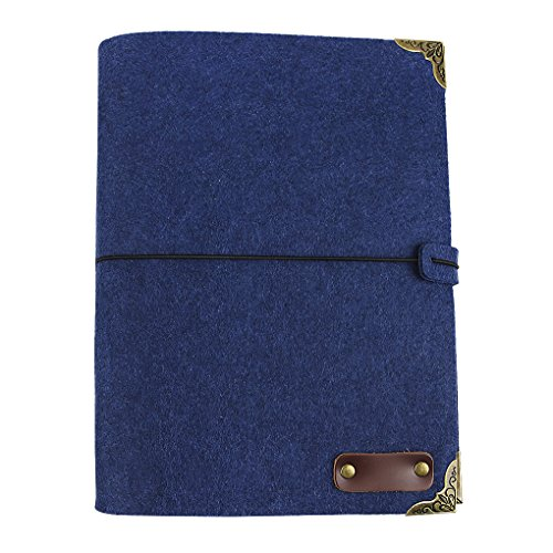 (B5 Soft Felt Cover Journal 3 Ring Binder Sketch Notebook w/Lined Refillable Kraft Paper,String Band,100 Sheets 200 Pages)