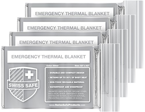 Emergency Mylar Thermal Blankets (4-Pack) + BONUS Signature Gold Foil Space Blanket: Designed for NASA – Perfect for Outdoors, Hiking, Survival, Marathons or First Aid (Deer Jam)