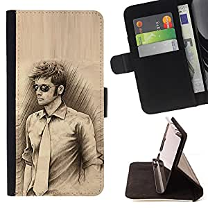 DEVIL CASE - FOR Sony Xperia Z3 D6603 - Man Tie Sunglasses Pencil Drawing Art Style - Style PU Leather Case Wallet Flip Stand Flap Closure Cover