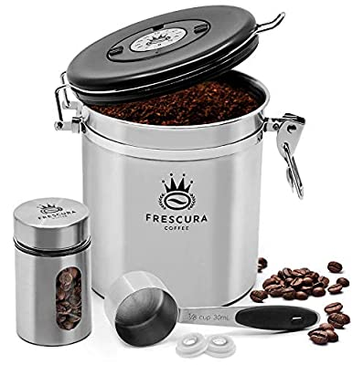 Frescura Coffee Airtight Coffee Canister Storage Container | Keep Ground Coffee & Beans Fresher | Stainless Kitchen Canister with Date Tracker, CO2 - Valve, Bean Scoop and Travel Jar - Silver Steel
