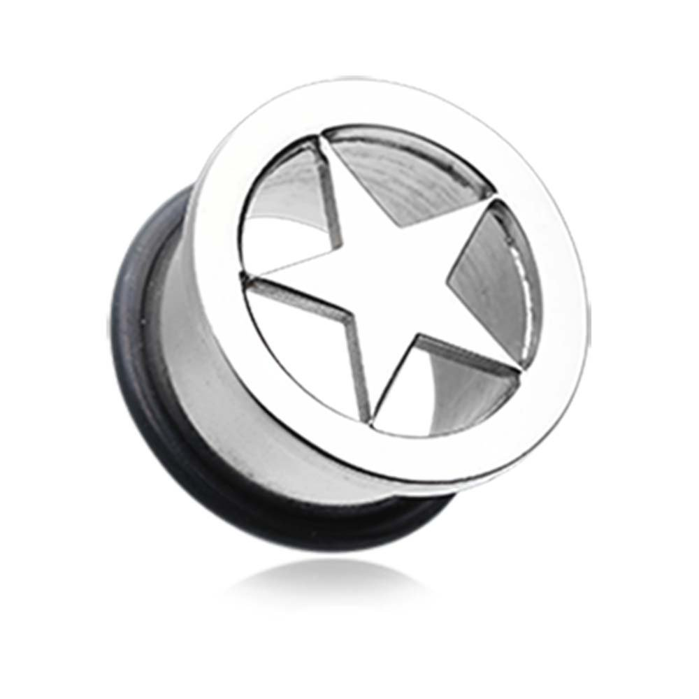 - Sold as a Pair Star Steel Single Flared Ear Gauge Hollow Plug 15//32 12mm
