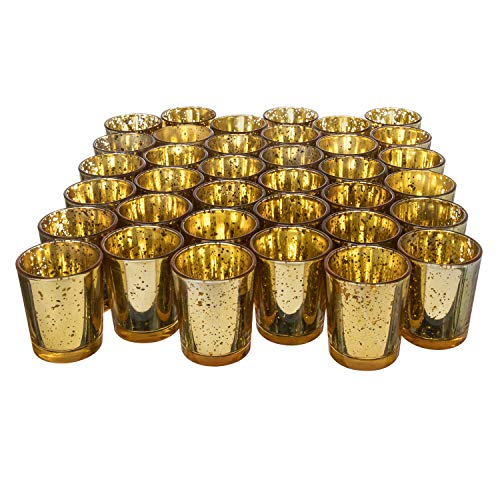 (Royal Imports Gold Mercury Glass Votive Candle Holder, Table Centerpiece Tealight Decoration for Elegant Dinner, Party, Wedding, Holiday, Set of 36 (Unfilled))