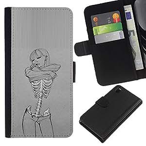 A-type (Cráneo Sexy Girl Gris Mujer Esqueleto) Colorida Impresión Funda Cuero Monedero Caja Bolsa Cubierta Caja Piel Card Slots Para Sony Xperia Z3 D6603