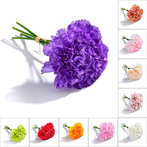 TiTa-Dong Artificial Flowers Fake Silk Carnations, 1 Bunch 5 Stems Bridal Bouquet Plastic Flower Arrangement for Mother's Day Birthday Weddings Anniversary Party Home Garden ()