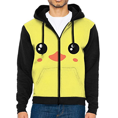 UYILP Men's Cute Yellow Duck Face Fashion Casual Athletic Long Sleeve Crew Sweatshirt Full-Zip Hoodie - Us Chicago Which State In