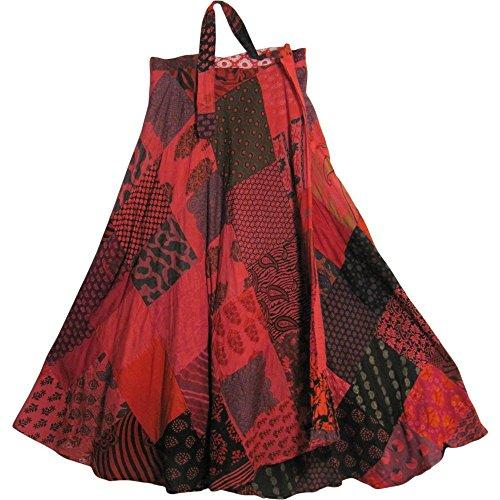 Missy Plus Vintage Ethnic Bohemian Cotton Patchwork Wrap Around Maxi Long Skirt (Red Tones) Vintage Wrap Around Skirt