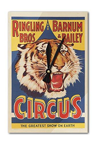 Circus Wall Clock (USA - Ringling Bros and Barnum and Bailey Circus (tiger head) - Vintage Advertisement (Acrylic Wall Clock))