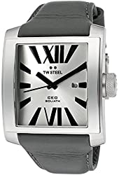 TW Steel Men's CEO Goliath Silver Dial Gray Genuine Leather