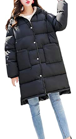 02dedf27f10 Amazon.com  Pandapang Women Thicken Winter Quilted Plus Size Hooded Down  Jacket Parka Coat  Clothing