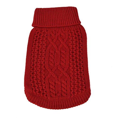 Sunward 2017 Turtleneck Classic Straw-Rope Pet Dog Sweater Apparel (XS, Red)