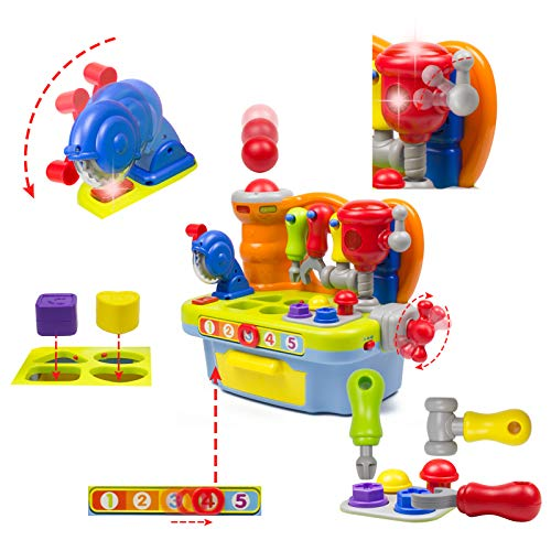 Woby Multifunctional Musical Learning Tool Workbench Toy Set for Kids with Shape Sorter Tools by Woby (Image #4)