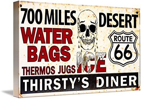 Wall Art Print entitled Route 66. Thirsty S Diner. Roadside Vintage Sign by Felix Padrosa | 16 x 9