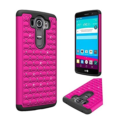 best sneakers 8f7ca 34cf5 LG V10 Case, [Hot Pink/ Black BLING] Supreme Protection Hard Plastic Case  on Silicone Skin Dual Layer Hybrid Case - Fantastic Protection!