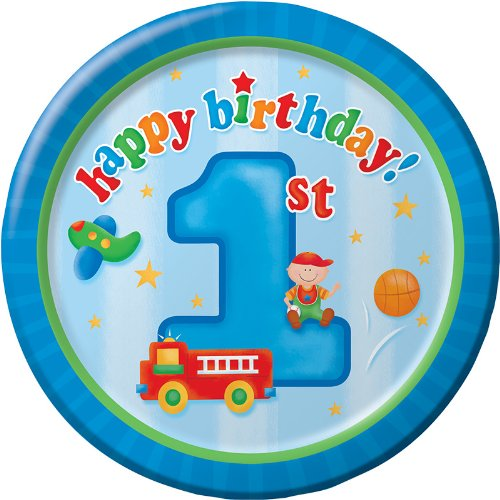 - 8-Count Round Paper Dessert Plates, Fun at One Happy First Birthday Boy