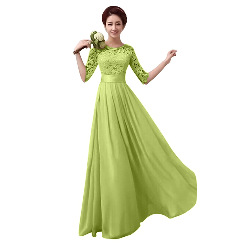 Damen Frauen Brautjungfernkleid Lang Abendkleider mit Spitze Halbe ...