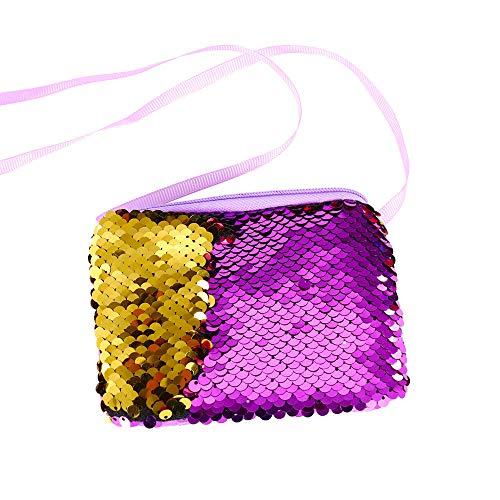 Women Girls Fashion Double Color Sequins Bag Storage Bag Ladies Purse -