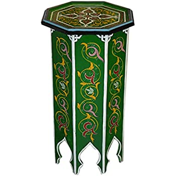 Moroccan Handmade And Hand Painted Wood Table Unique With Vivid Colors